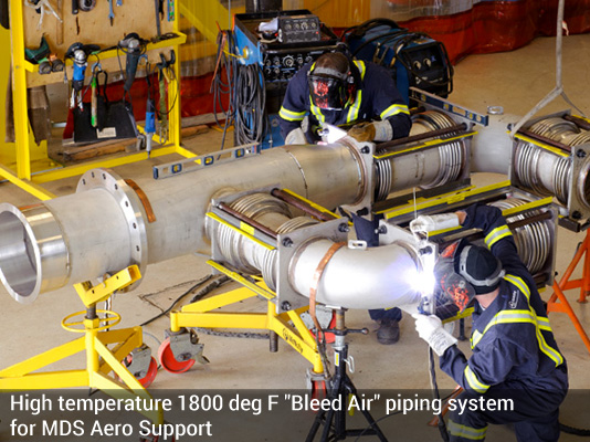 1800 degree F bleed air piping system
