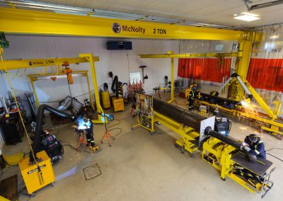 McNolty full span Gantry cranes in fabrication shop